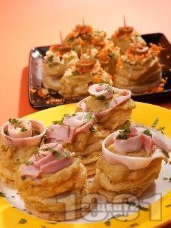 Парти хапки от бутер тесто с грахова паста на фурна - снимка на рецептата